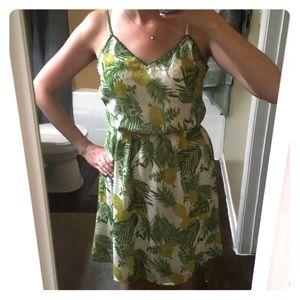 Pineapple floral print dress